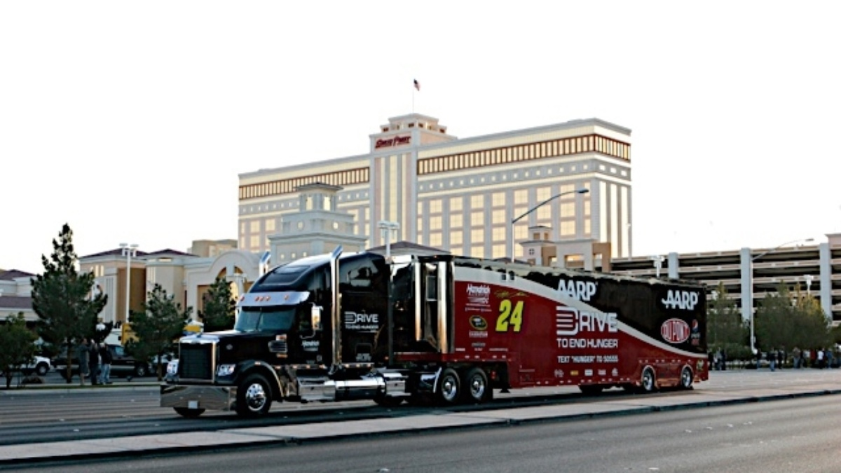 Hendrick Motorsports' transporters in Thursday's hauler parade at Indy