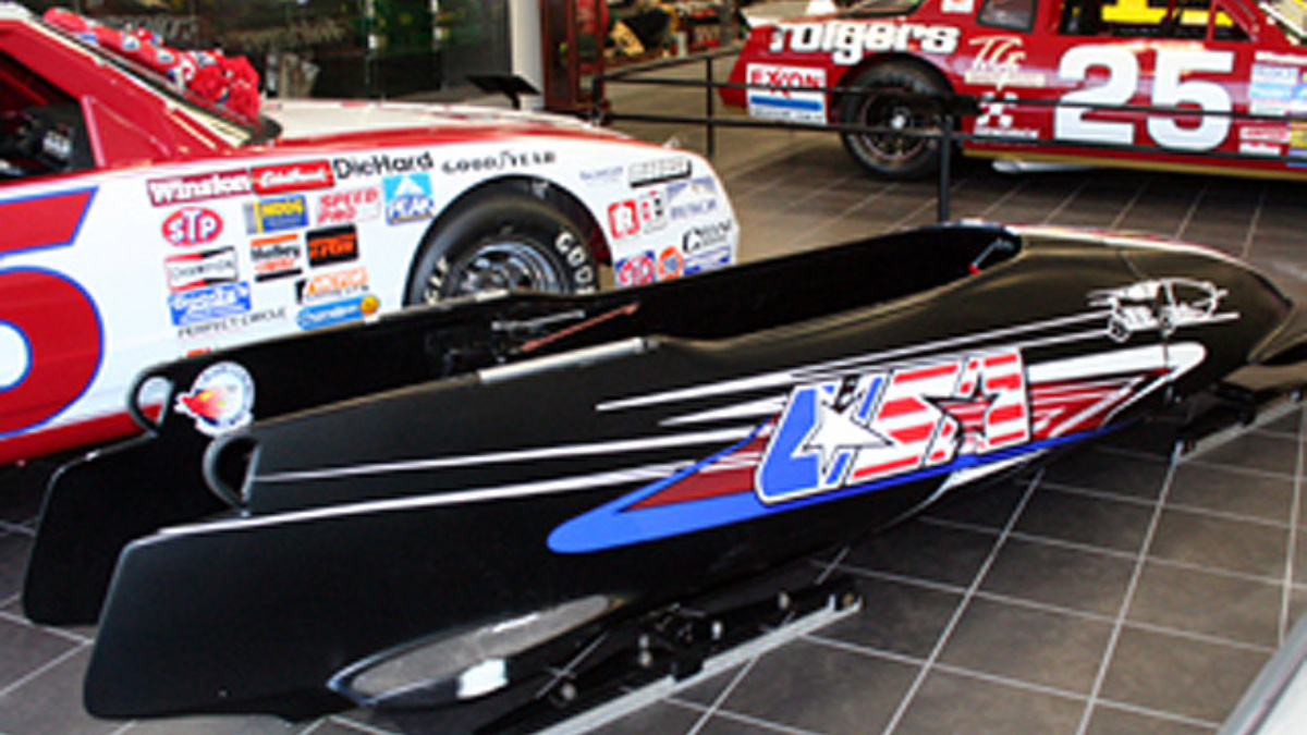 Bodine's Olympic bobsled on display at Hendrick Motorsports Museum & Team Store