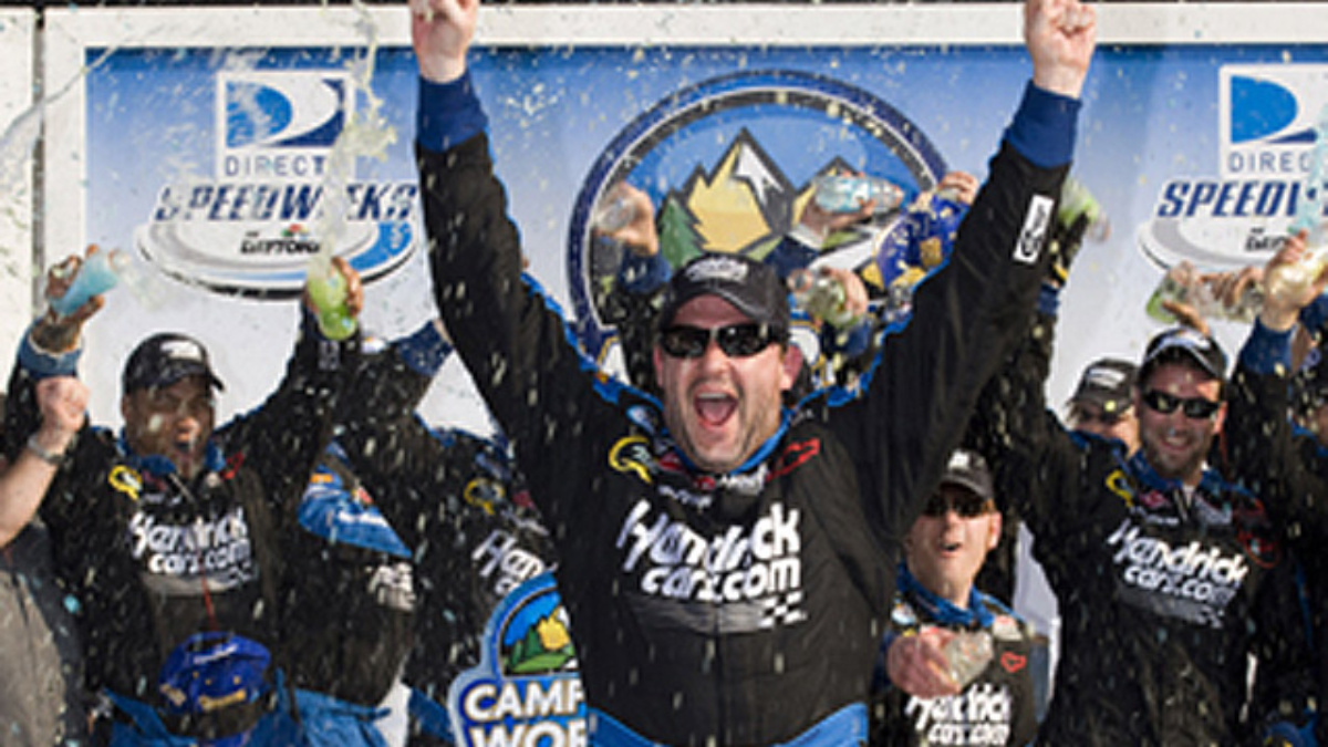 Stewart drives No. 80 HendrickCars.com Chevy to Victory Lane ...