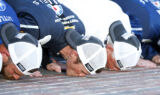 Kahne kisses the bricks