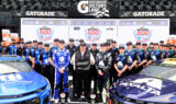 Celebrating a sweep of front-row starting spots for 'The Great American Race'