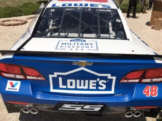 Johnson's patriotic Lowe's Chevy for 600 unveiled on special trip to Ft. Bragg