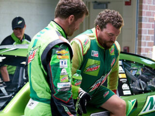 Danny McBride helps bid farewell to Earnhardt as 'Dewey Ryder'