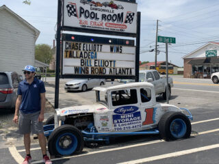 Elliott celebrates with fans at Dawsonville Pool Room