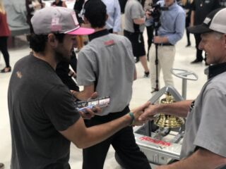 Teammates celebrate Elliott's 'roval' win with Victory Bell