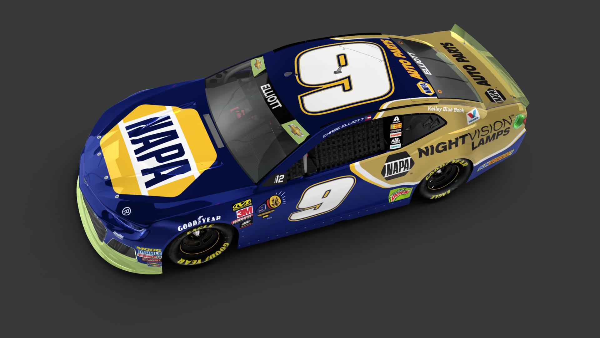 Rick Hendrick Chevy >> Elliott to drive new NAPA Nightvision Chevy at Talladega   Hendrick Motorsports